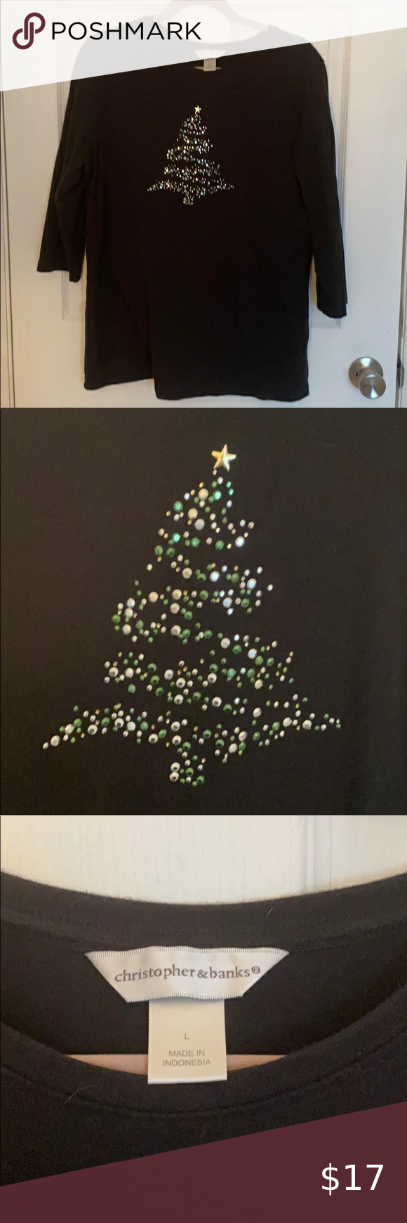 Christopher & Banks Christmas 🎄 Tree Tee Large Christopher & Banks black 3/4 sleeve tee Beautiful Christmas tree 🎄 design in green, silver, and gold Excellent Used Condition Armpit to armpit is 20 inches Christopher & Banks Tops Tees - Long Sleeve