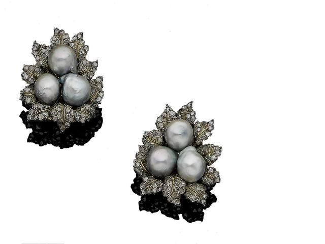A pair of cultured pearl and diamond leaf ear clips, by Buccellati, circa 1950