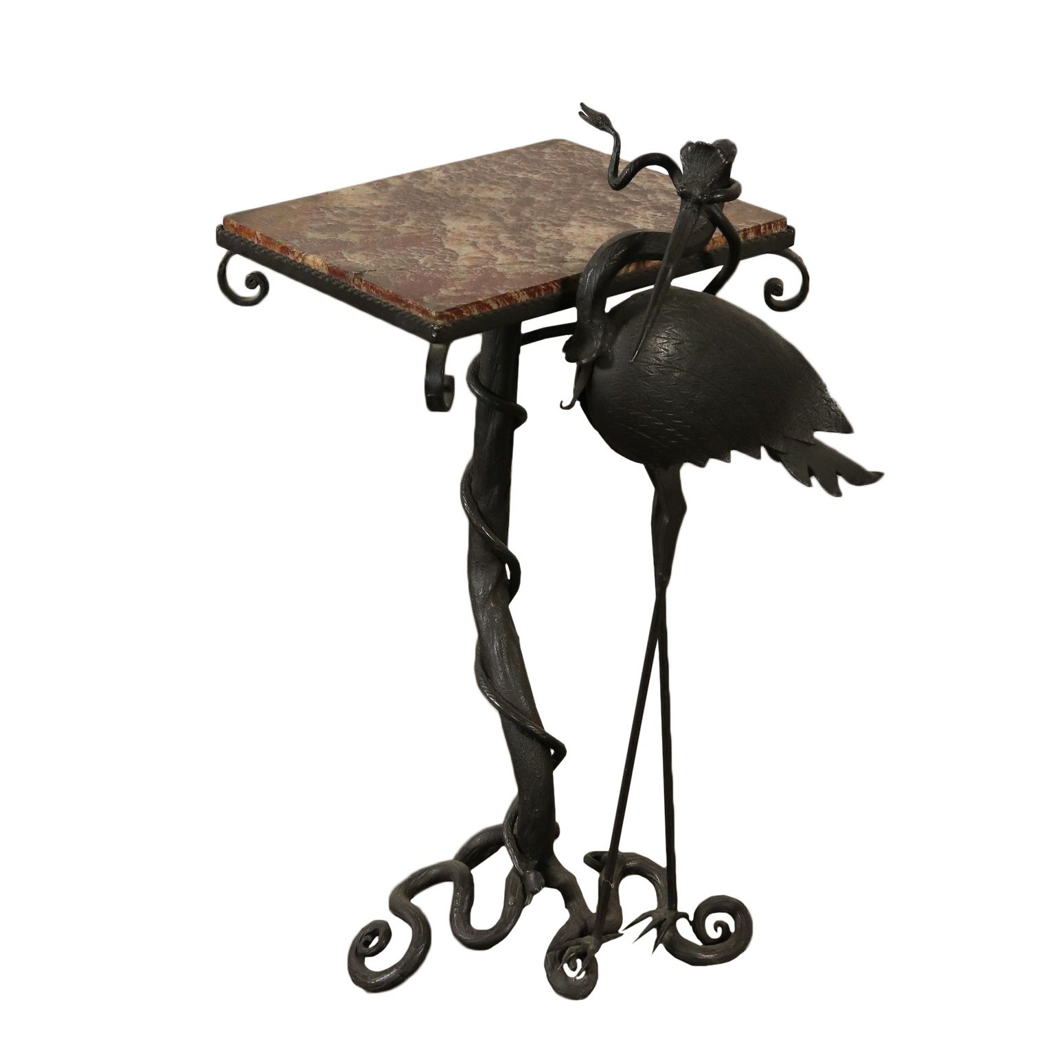 Antiques Coffee Table Marble Top Wrought Iron Italy Early 1900s