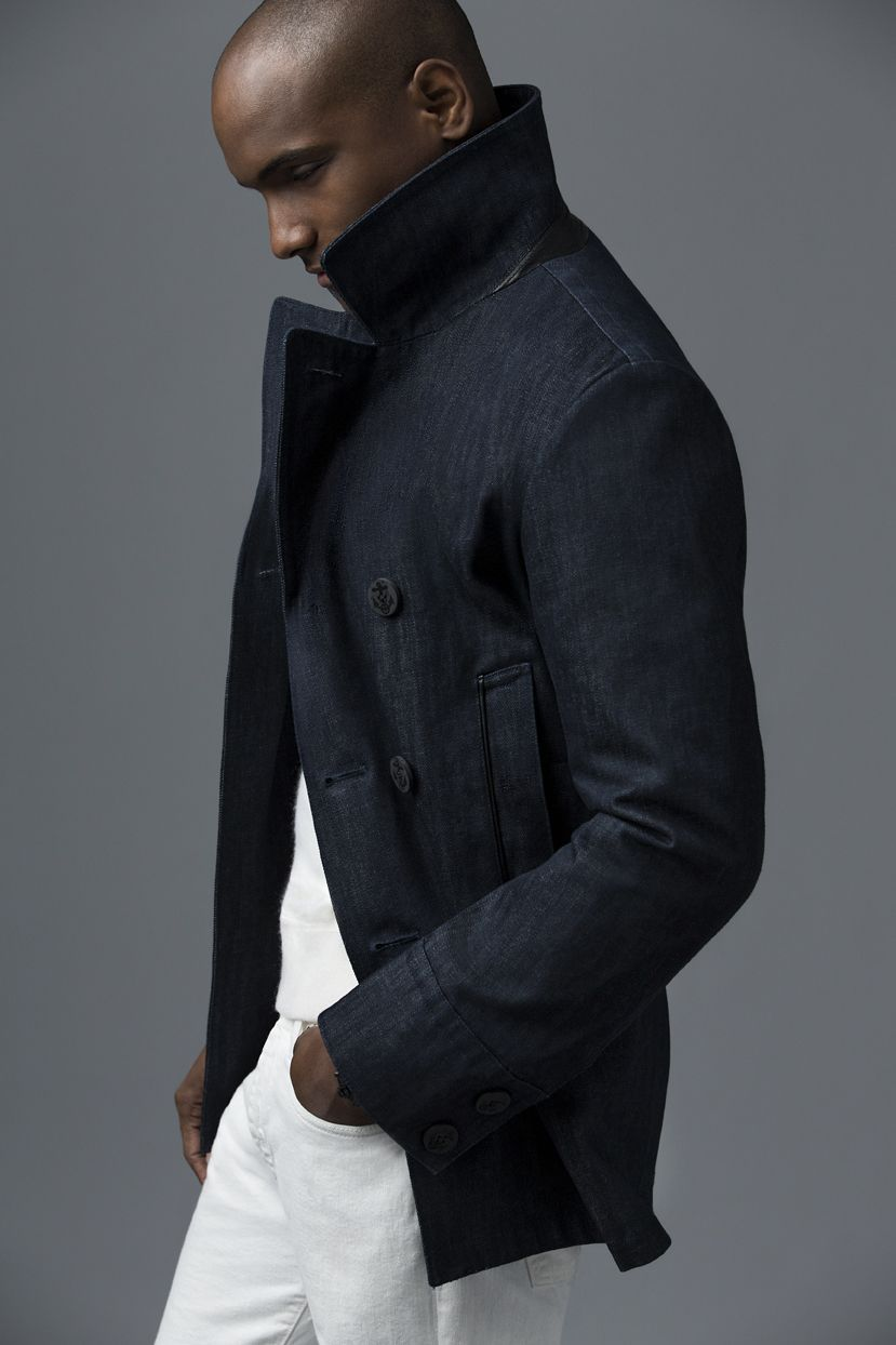Raw Denim Peacoat - Blue Denim
