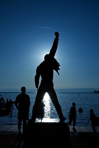 A statue in Montreux, Switzerland (by sculptor Irena Sedlecka) was erected as a tribute to Mercury. It stands almost 10 feet (3 metres) high overlooking Lake Geneva and was unveiled on 25 November 1996 by Freddie's father and Montserrat Caballé, with bandmates Brian May and Roger Taylor also in attendance.