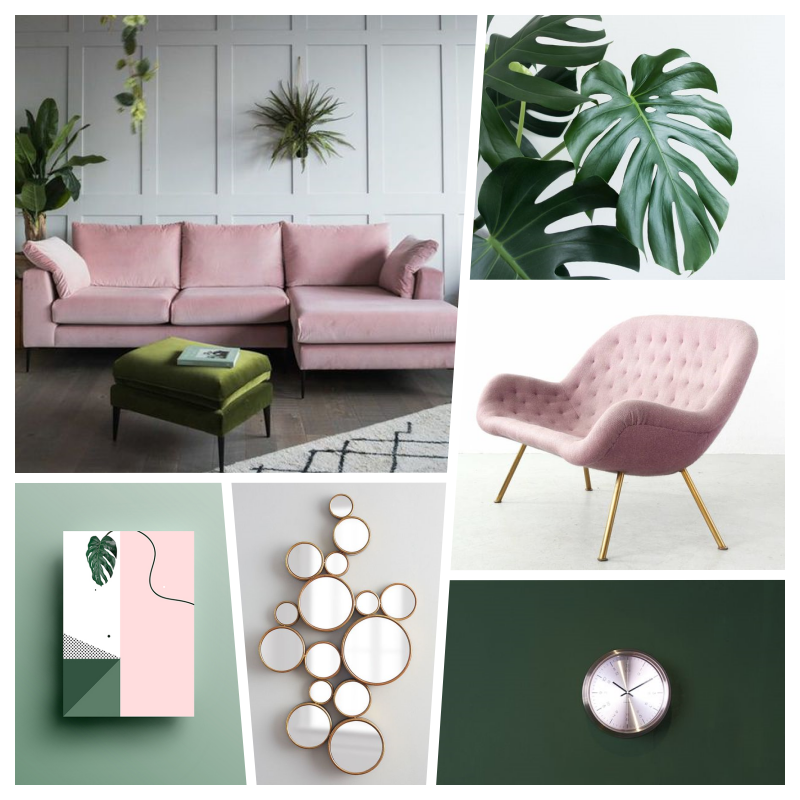 Pink Green Gold Plants Interiordesign Interior In 2020 With Images Pink Living Room Pink Green Bedrooms Bedroom Decor For Women