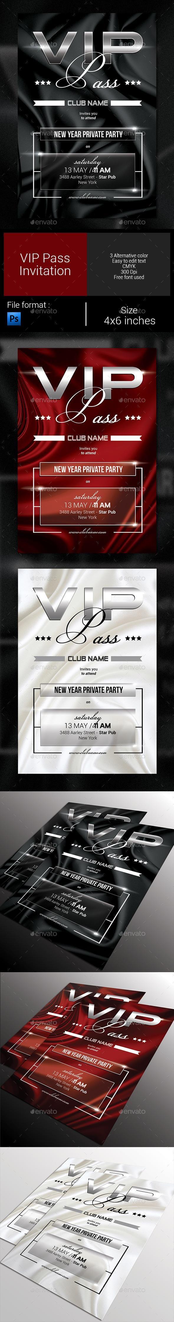 Multipurpose VIP Pass Invitation | Vip pass, Template and Vip card