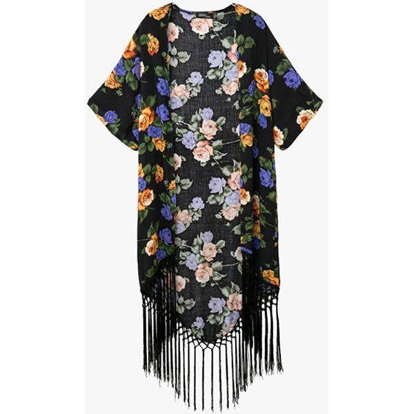 Black Floral Print Fringe Kimono ($42) ❤ liked on Polyvore featuring intimates, robes, kimono robe, fringe kimonos, floral fringe kimono, floral kimono and floral kimono robe