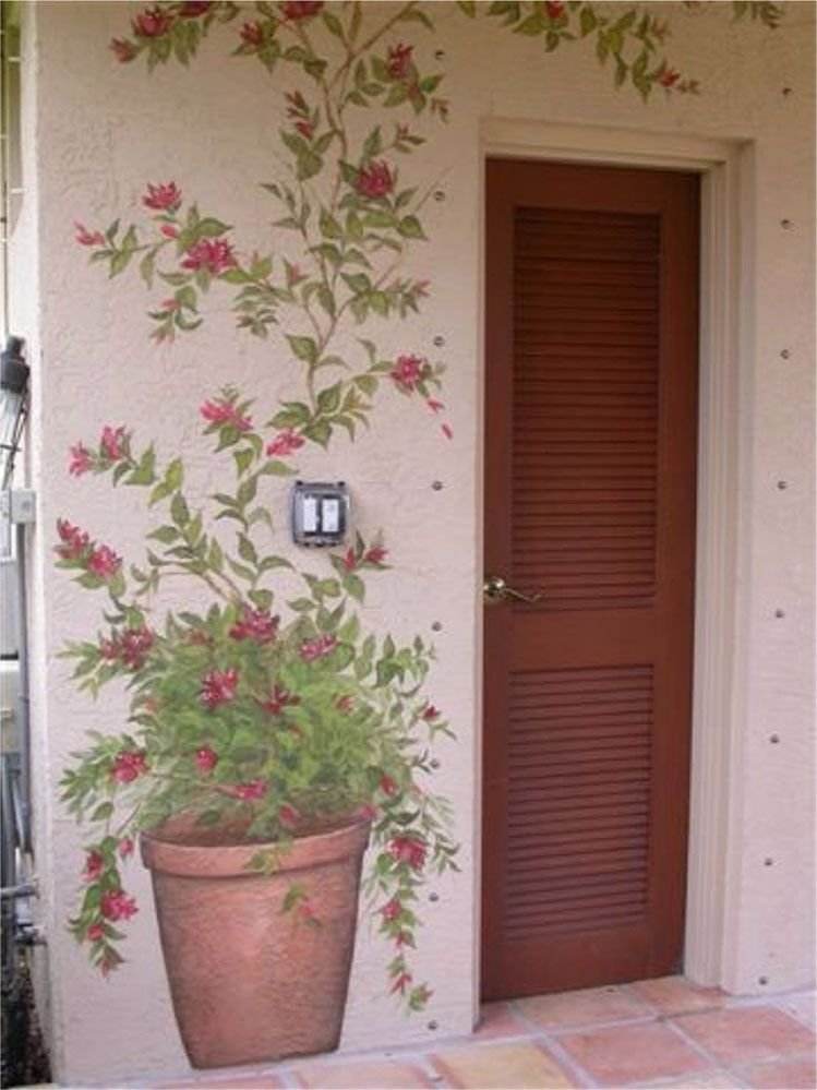 mural flower pot ideas for painting murals pinterest flower. Black Bedroom Furniture Sets. Home Design Ideas