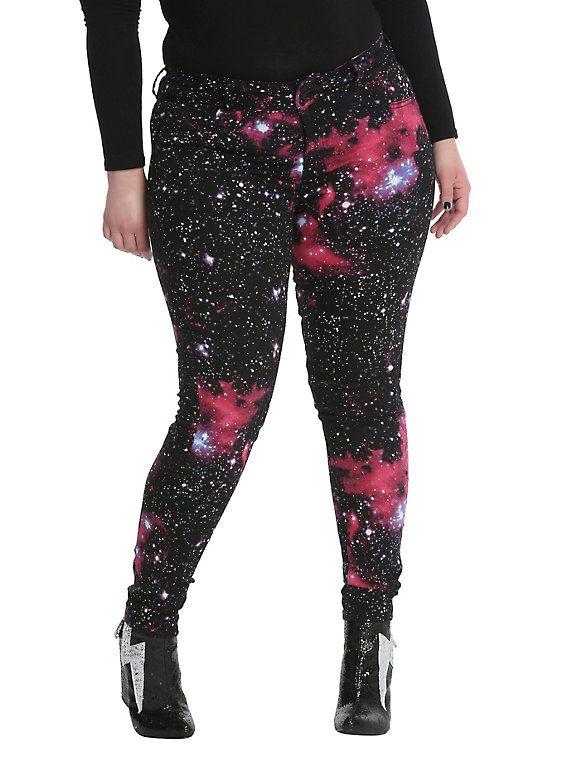 d7e537078eadf Blackheart Galaxy Print Super Skinny Jeans Plus Size