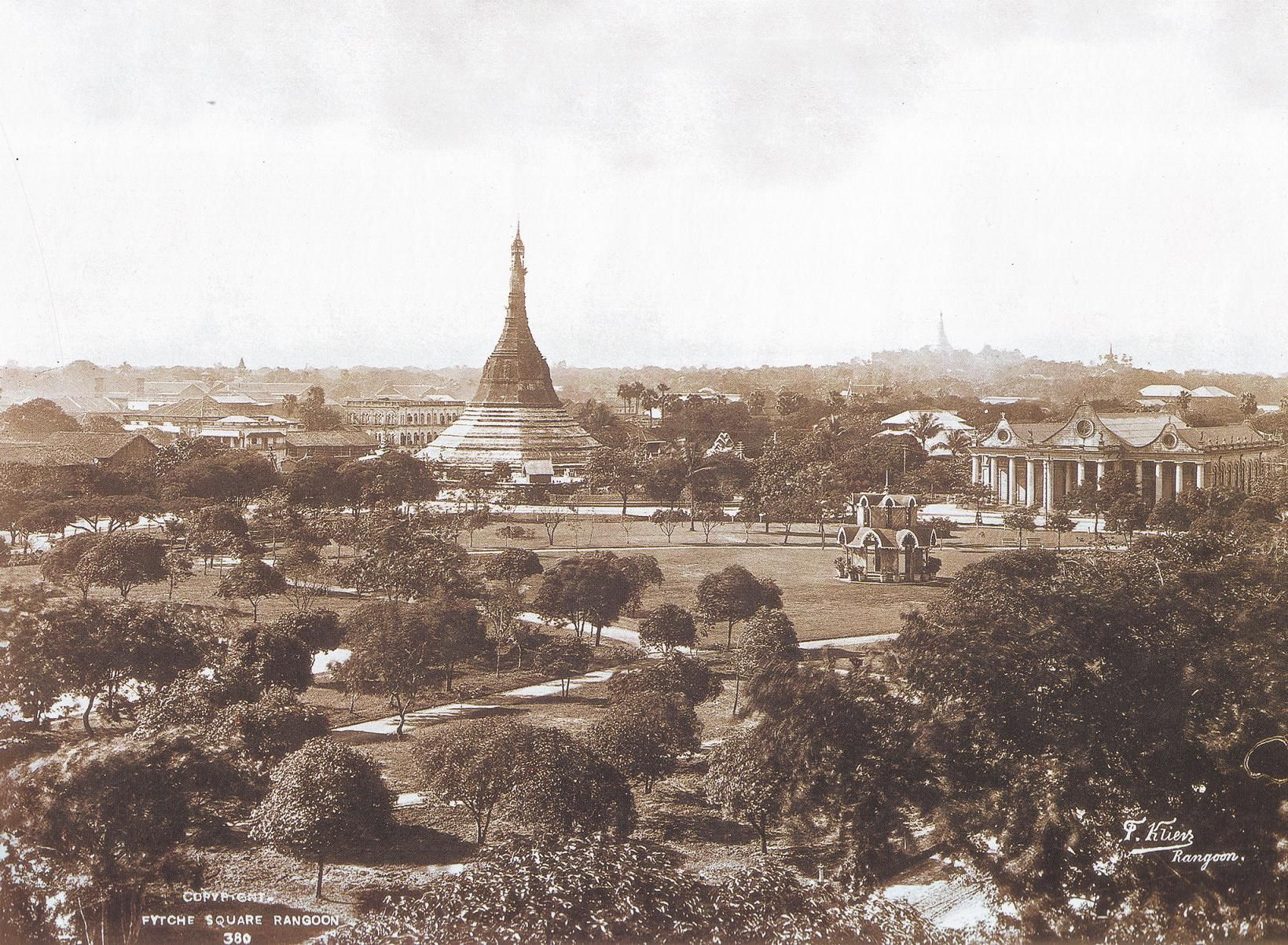 Fytche Square and Sule Pagoda, Rangoon (Yangon) by Philip Adolphe ...