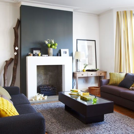 Modern grey and yellow living room | Family living room design ideas ...