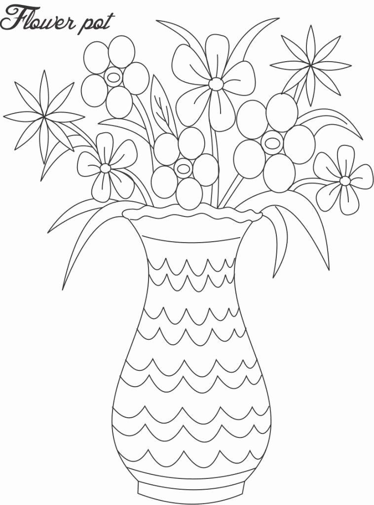Flower Pot Coloring Pages New Flower Pot Coloring Page Coloring Home Flower Vase Drawing Flower Drawing Printable Flower Coloring Pages