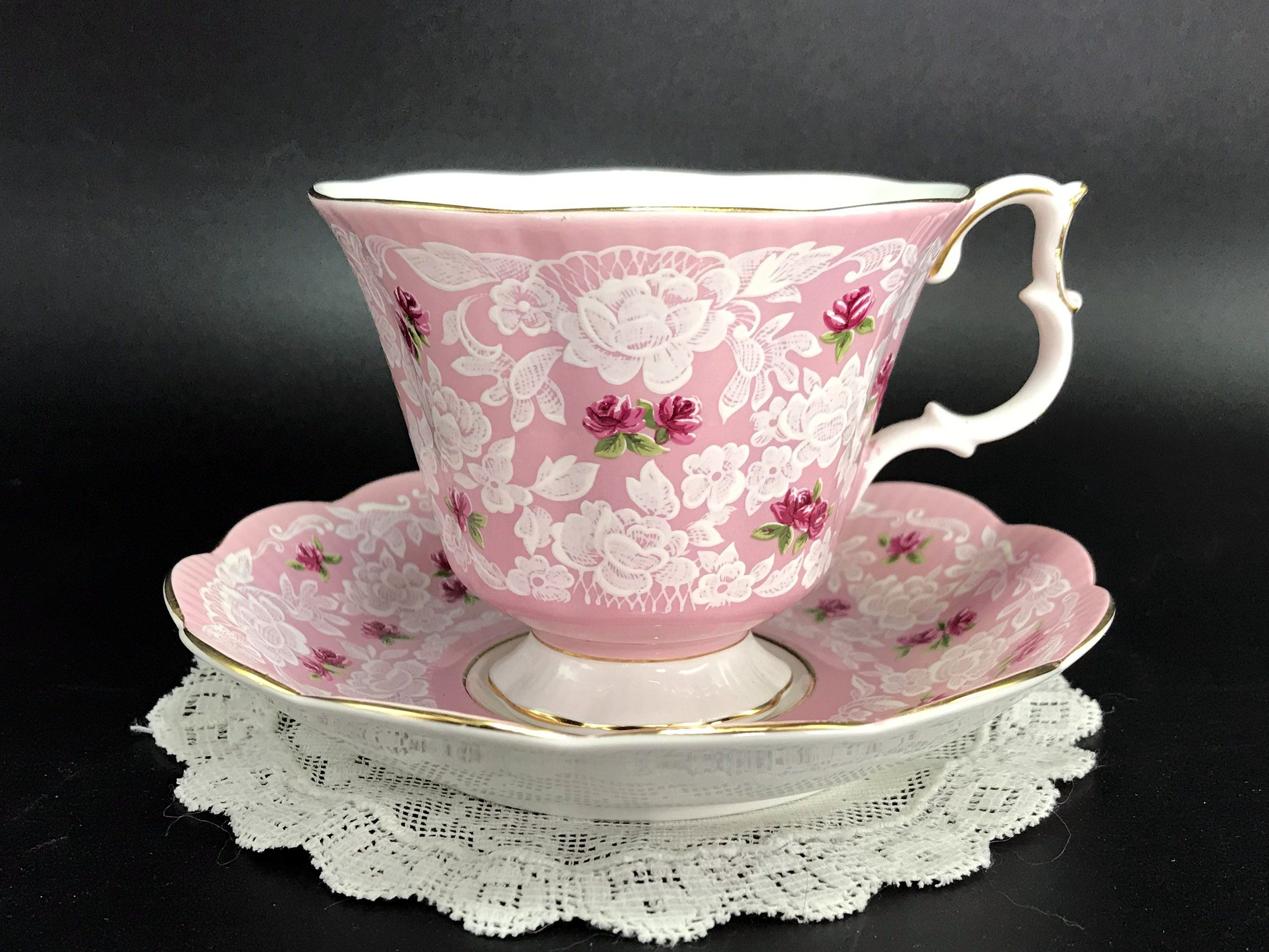 Royal Albert True Love Teacup and Saucer, Pink Chintz Tea Cup, Made in England -J #teacups