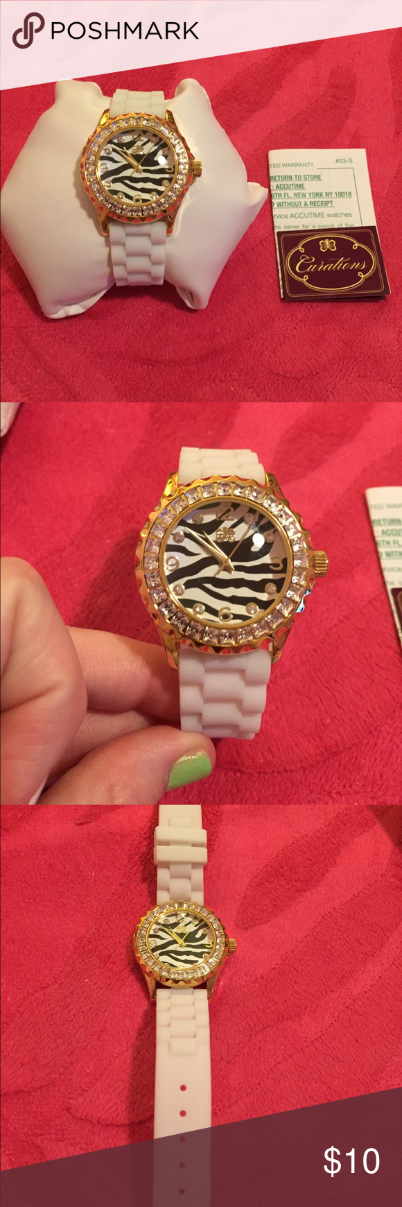 Curations Zebra Print Watch w/ White Strap Bought from HSN; great condition! Gently used! Gold and zebra print detailed watch face, white rubberized strap Curations Jewelry