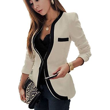 Mengsha Solid Color Fitted Fashion Blazer – USD $ 13.99