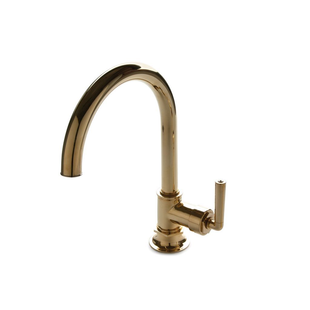 Henry One Hole Gooseneck Kitchen Faucet, Metal Lever Handle ...
