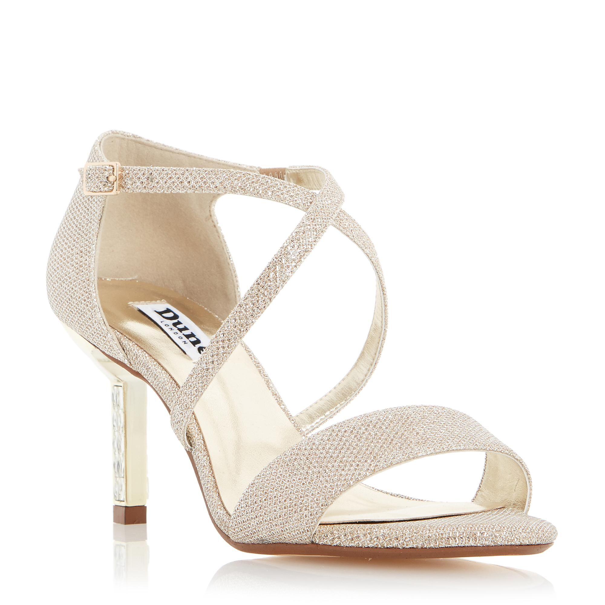 Womens sandals mid heel - Dune Ladies Mindee Diamante Mid Heel Cross Strap Sandal Gold Dune Shoes Online