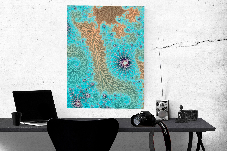 Aqua Turquoise Fractal Art Giclee Canvas, Mandelbrot Infinity Wall Art,