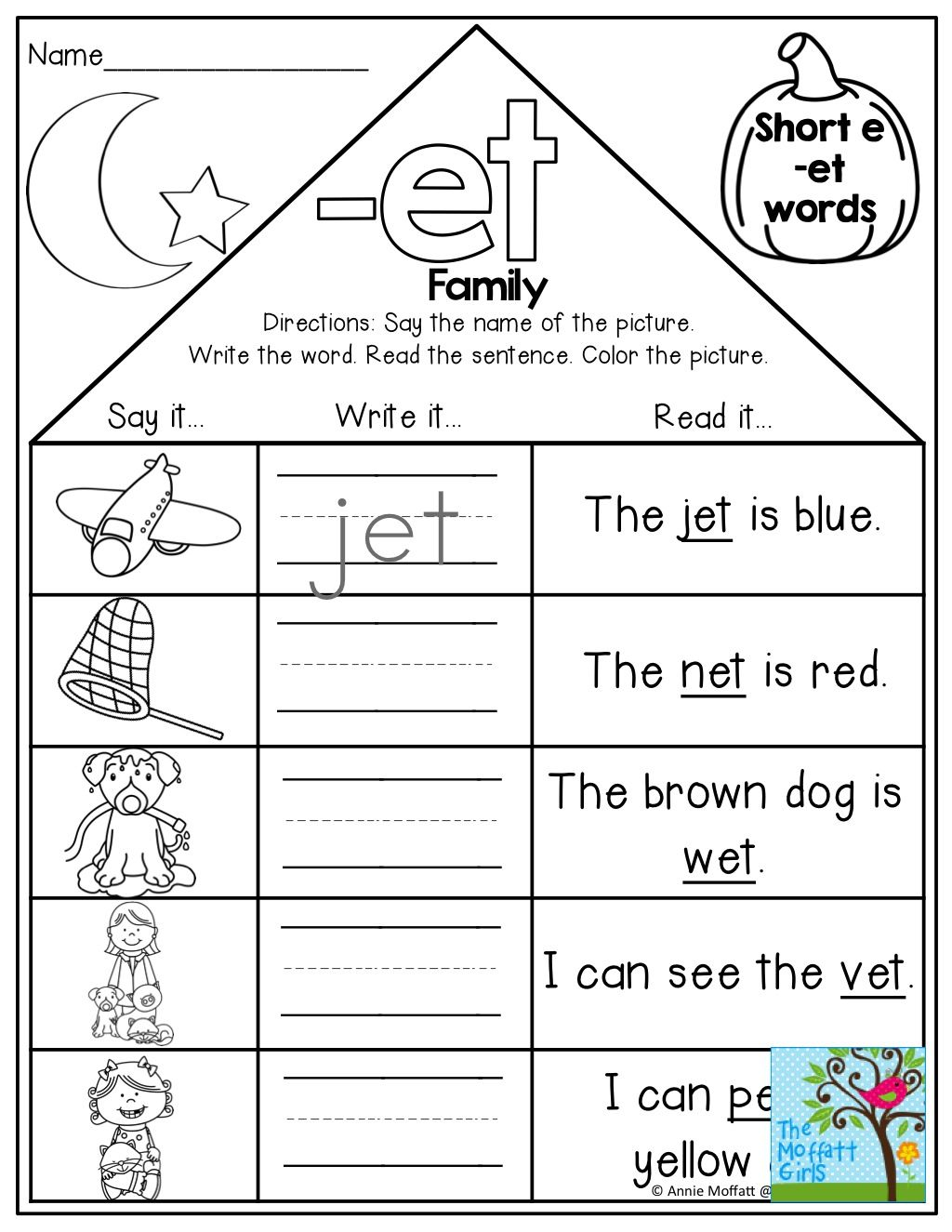 small resolution of Word Family Houses and TONS of other fun printables!   Kindergarten word  families