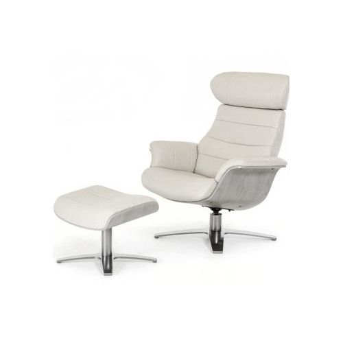 Alsatia Modern Leather Manual Swivel Recliner With Ottoman