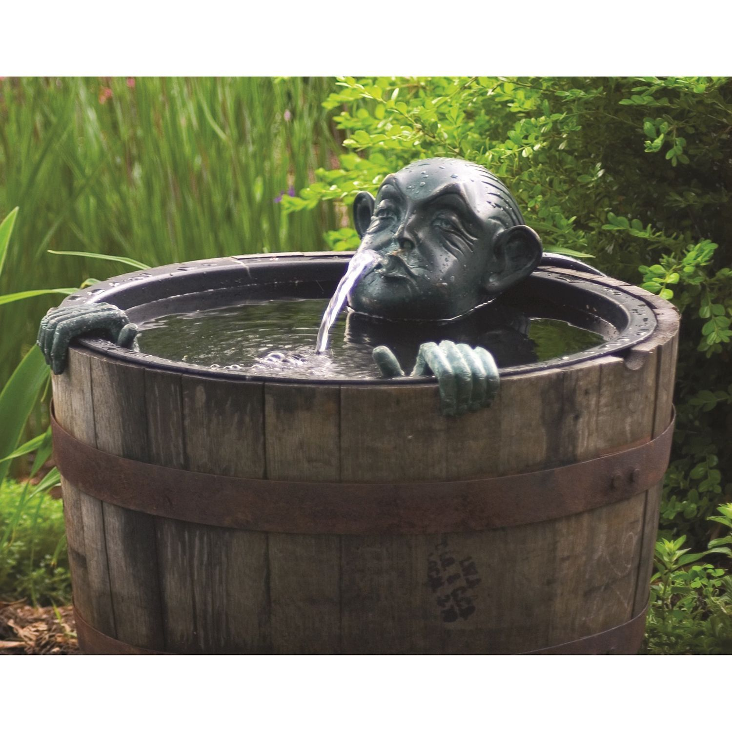 "Man In Barrel Spitter Fountain Head 8.5 L X 11"" 8"""