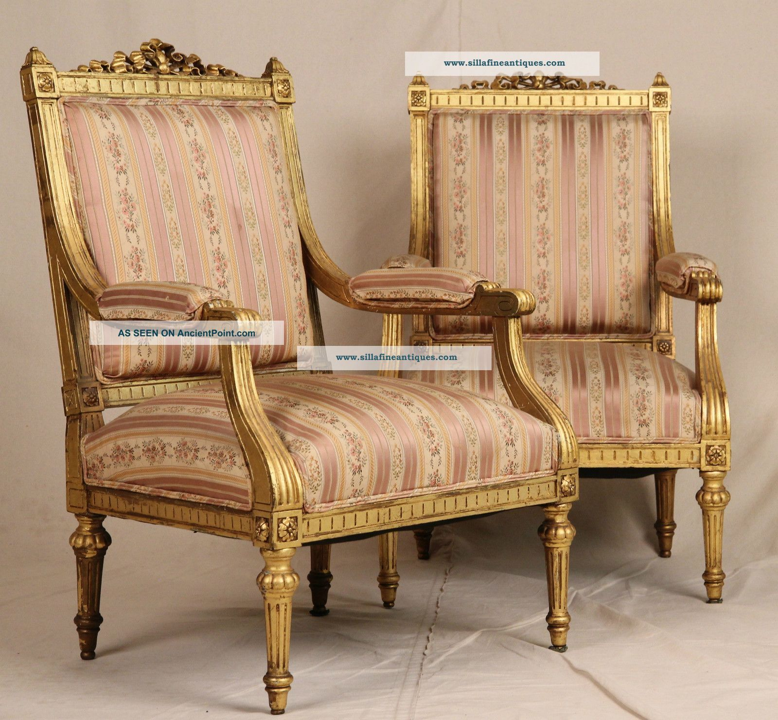 Antique louis xvi chair - Fine Pair French Louis Xvi Carved Gilt Antique Upholstered Fauteuil Arm Chairs Photo