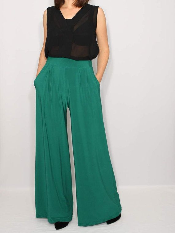 eefad75b0 ABOUT: Long pants have wide leg cut and and drape in front. They have two  pockets. Elastic waist for a sure fit. Easy, slip-on style.