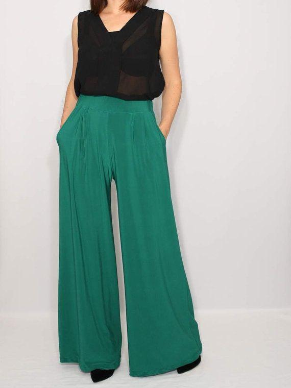 Emerald Green Pants High Waist Wide Leg Pants Womens by KSclothing ...