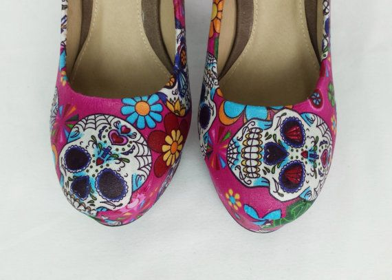 Day of the dead pink heels sugar skull heels candy by RockYourSole