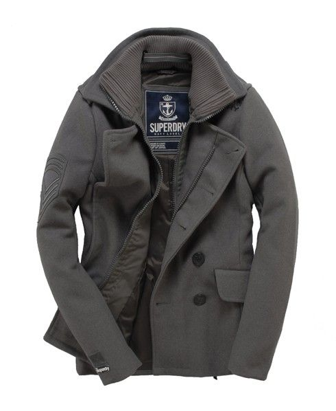 c3093db6ebd3 Superdry Classic Peacoat Pea Coat in Battleship Grey Gray