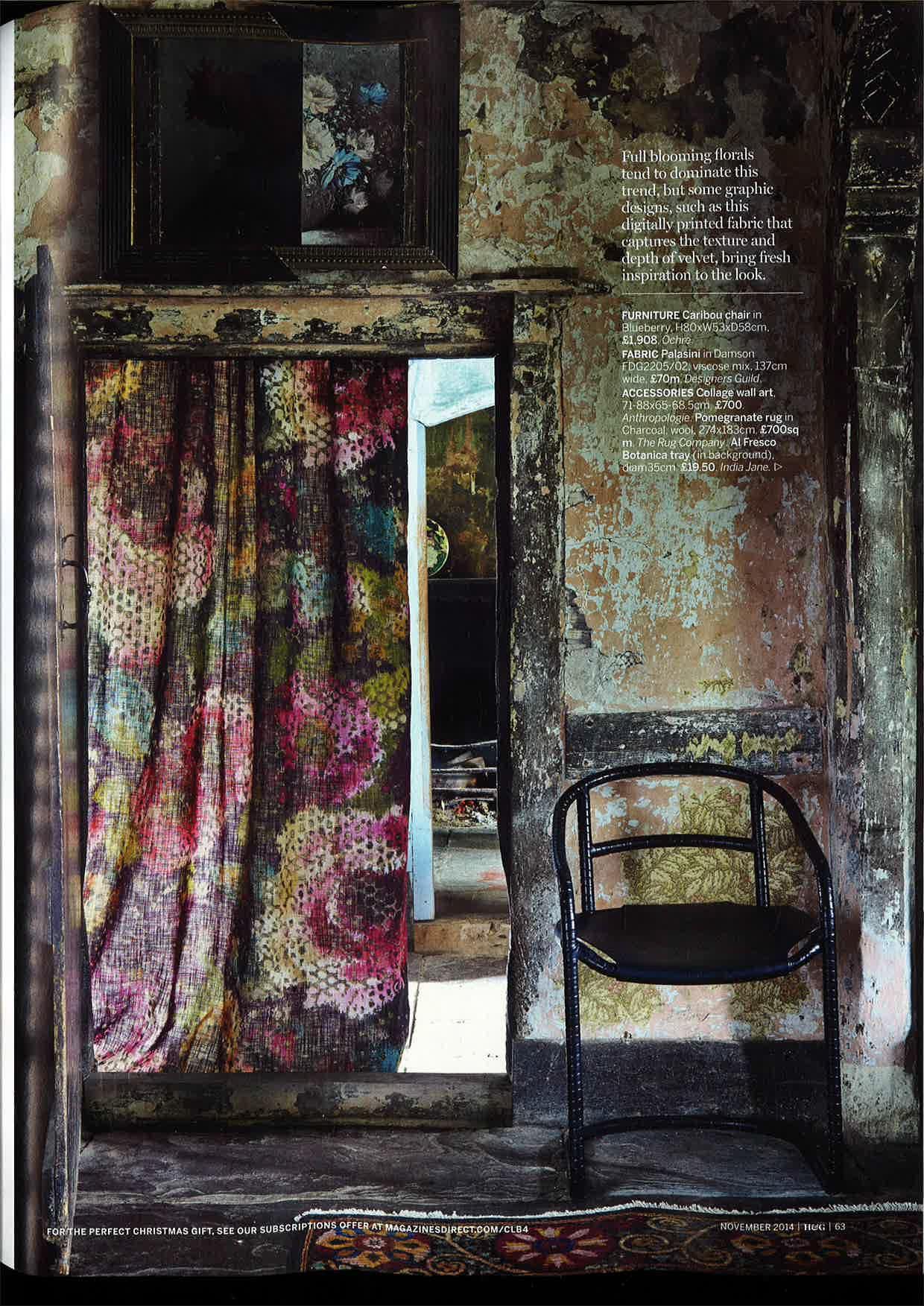 Designers Guild Palasini digitally printed linen as seen in Homes & Gardens, UK.