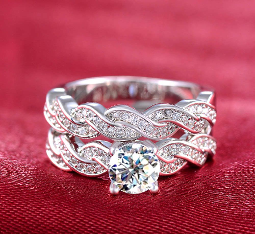 925 Silver Filled White Sapphite Birthstone Bridal Engagement Set ...