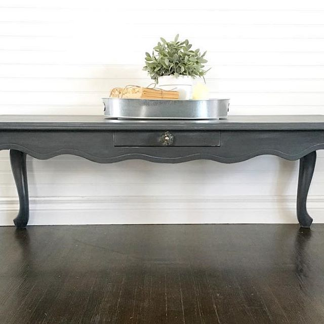 Charcoal Grey French Provincial Coffee Table Done In Rustoleum Chalk Paint With A Light Grey Wash Charcoal Coffee Table Painted End Tables Refinished Table