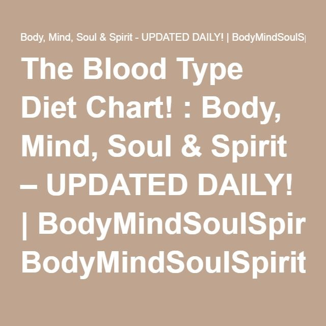 The Blood Type Diet Chart  Body Mind Soul  Spirit  Updated