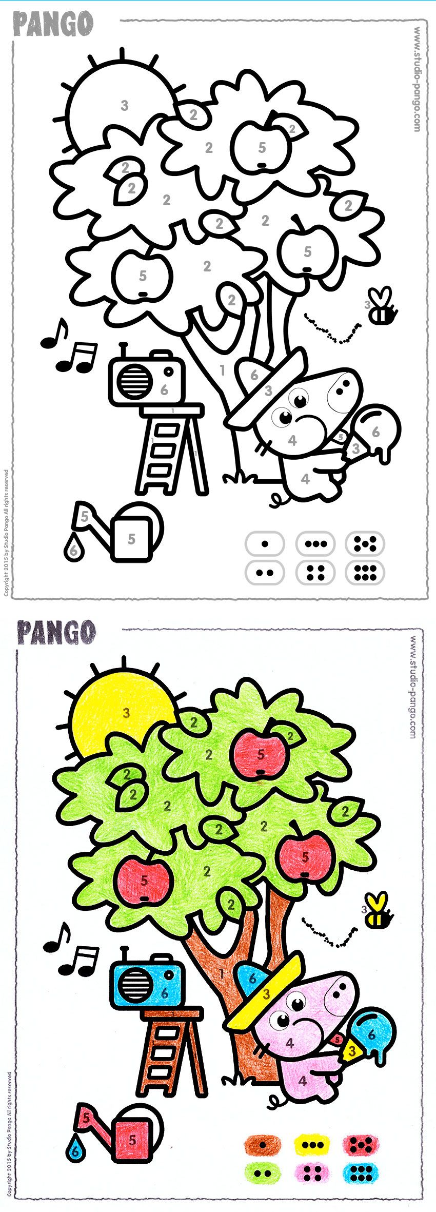 A summer tree to color by numbers #numbers #coloring #preschool ...