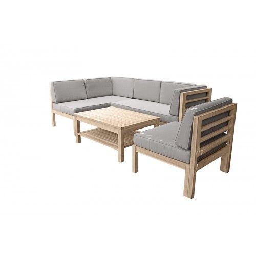 OUTLIV Skagen Loungegruppe Akazienholz weiß-braun Garten