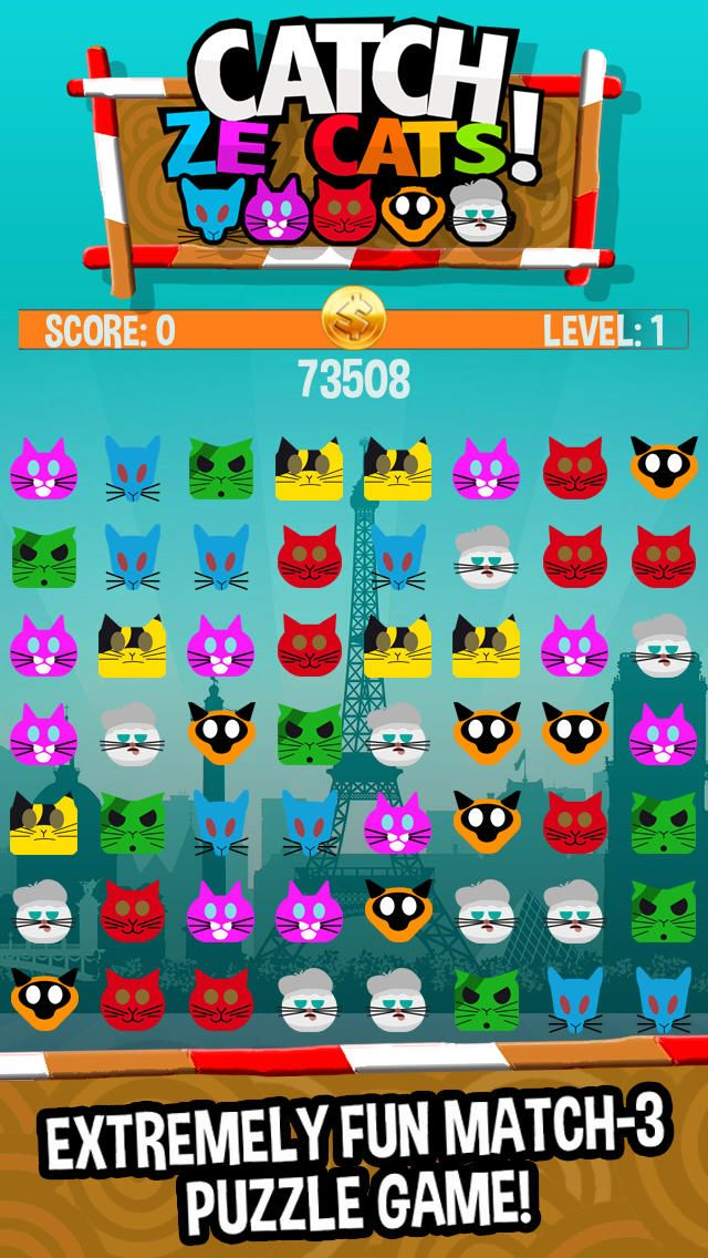 Catch Ze Cats Uber Match 3 Puzzle Game Kitty games