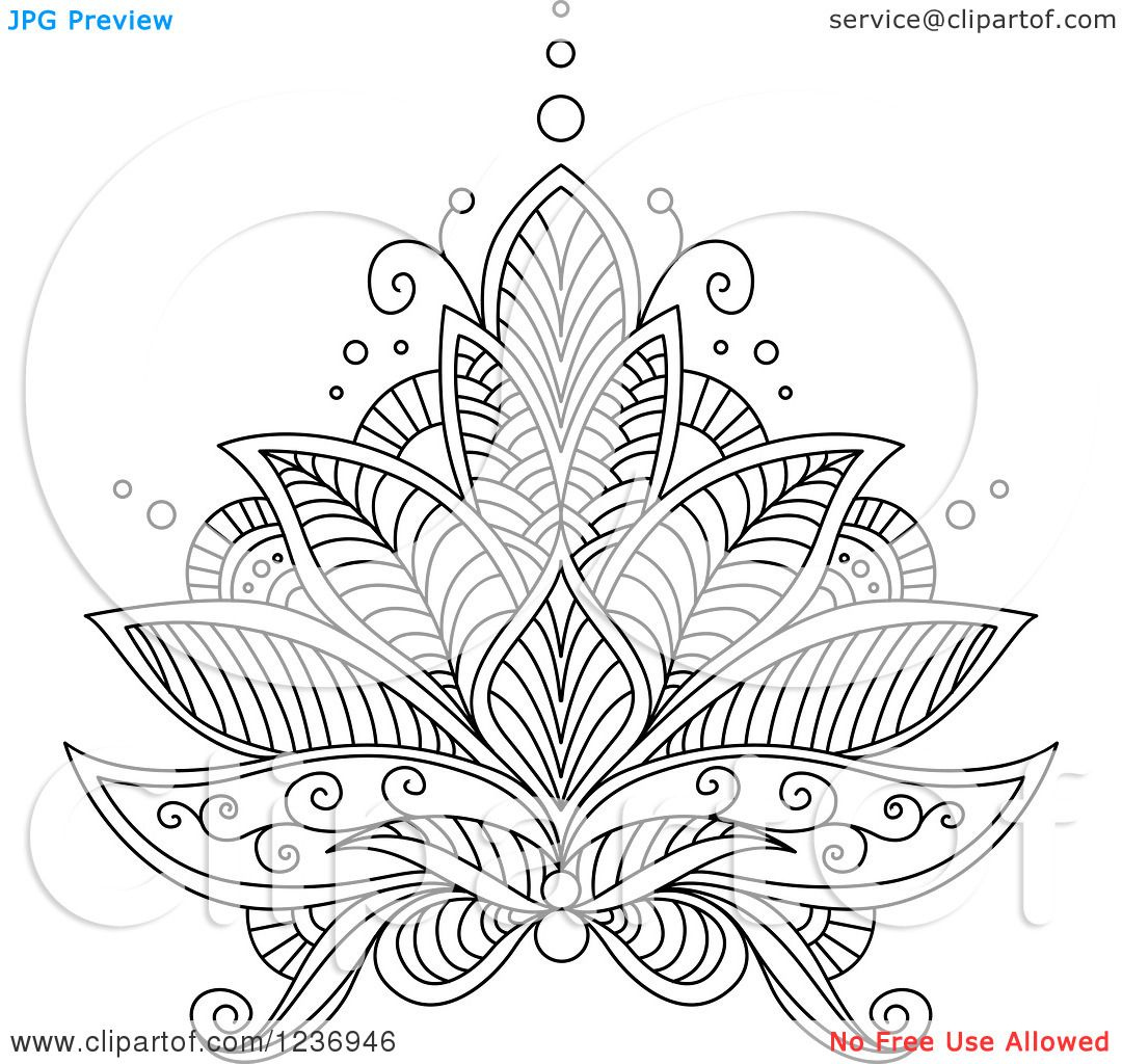 Clipart Of A Black And White Henna Lotus Flower 6 Royalty Free