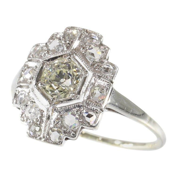 Stunning Vintage Art Deco Diamond Engagement Ring 1920s Art Deco Diamond Ring Engagement Diamond Fashion Rings Deco Engagement Ring