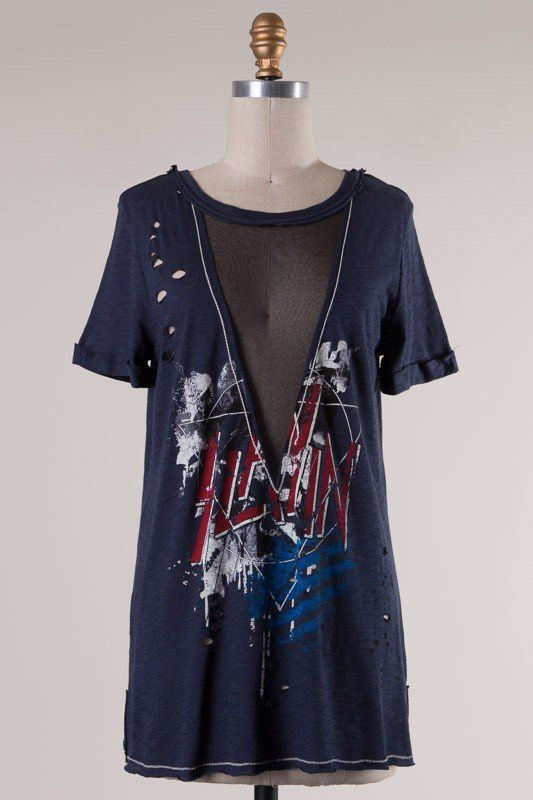 Distressed edgy t-shirt with mesh v-neck, band tee