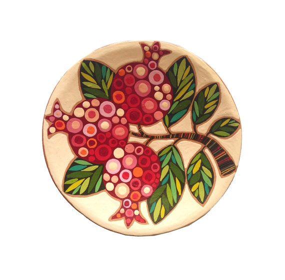 Decorative Plate Three Pomegranates Armenian by Essenziale on Etsy  sc 1 st  Pinterest & Decorative Plate \