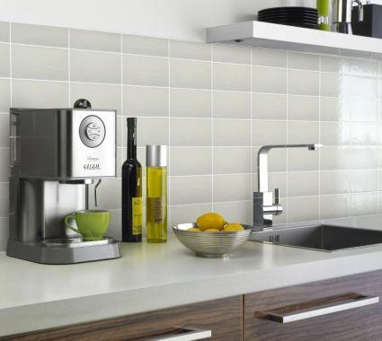 White Brick Effect Tiles Kitchen Splashback