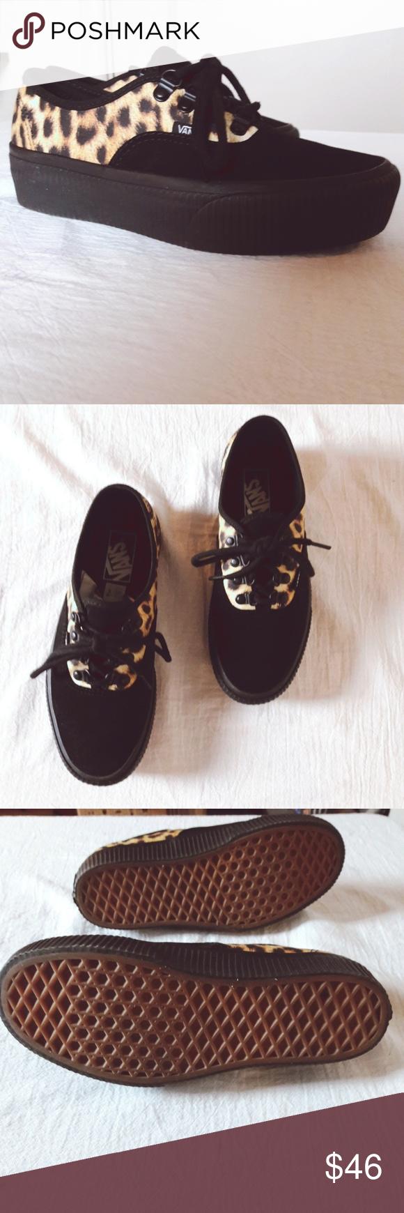 4f51e6b33d16 Vans Black Leopard Suede Creeper Sneakers Punk 80s Vans Leopard Black Suede  Creeper Sneakers Punk Goth