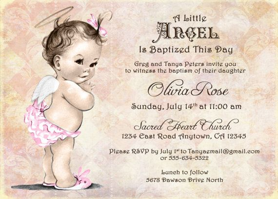 Baptism invitation for girl christening invitation for girl baptism invitation for girl christening invitation for girl vintage angel diy printable stopboris Gallery