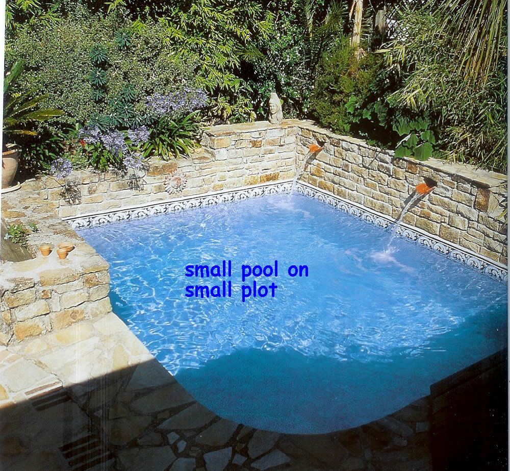 Small corner pool almost square everyone repins for Small backyard designs with pool