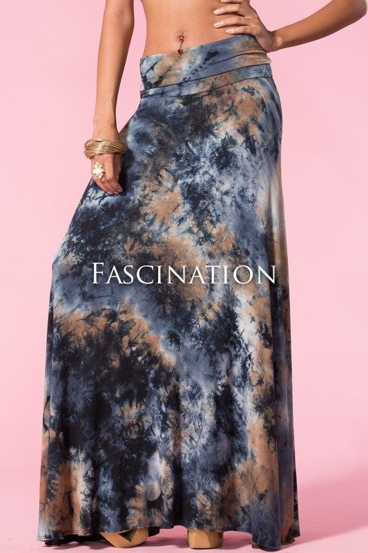 FOLD OVER WAIST NAVY BLUE MOCHA BOHO STONE TIE DYE LONG MAXI KNIT SKIRT S M L