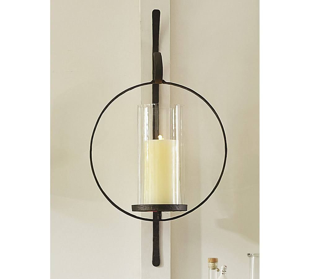 Artisanal circular wall mount candle sconce at pottery barn our artisanal wall mount candle holders let you add rustic style to a room or candle wall mix and match candle wall sconces wall mount vases reviewsmspy
