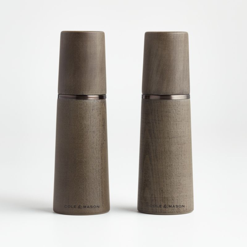 Shop Cole and Mason Marlow Salt and Pepper Mill. Striking and stately, this salt and pepper mill upgrades at-the-table seasoning with its sleek tapered form and modern organic aesthetic. A slim band of bronze-finished stainless steel adorns the deeply stained wood for a refined tonal look.