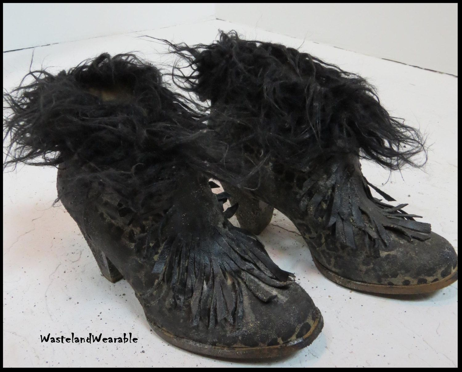 Post Apocalyptic BLACK LEATHER FRINGE Boots Apocalyptic Leopard ...