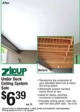 Zipup Under Deck Ceiling System From Menards 6 39 Under Deck Ceiling Under Decks Ceiling System
