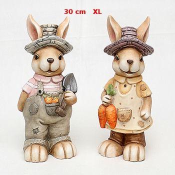 Vogtland-Souvenir`s - Große XL Dekohasenpaar Keramik Aussendeko Hasenpaar