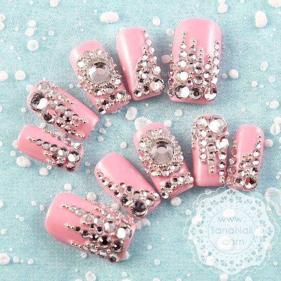 Japanese 3D Nail Art, Press On Nails, False Nails - Pink Bling Bling ...