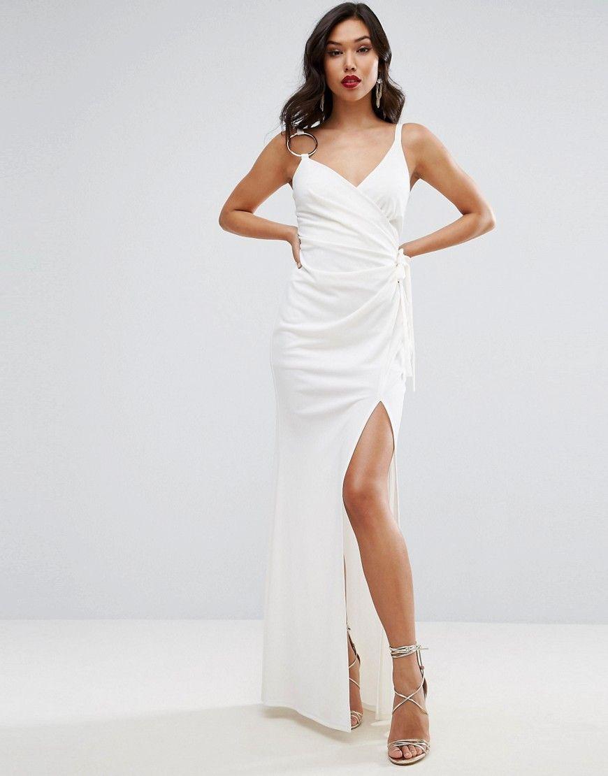 dfa3116a6e7 ASOS Ring One Shoulder Cami Wrap Maxi Dress - White